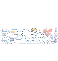 Swimming - colorful line design style vector