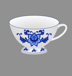 tea cup ornate with traditional blue floral vector image