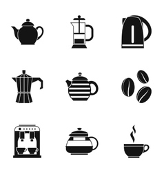 Tea icons set simple style vector