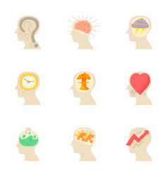 Thoughts in my head icons set cartoon style vector