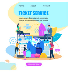 Ticket booking service flat web banner vector