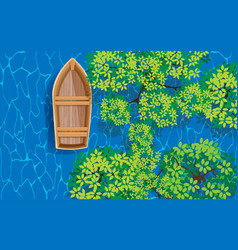 topview wooden boat in mangrove forest vector image