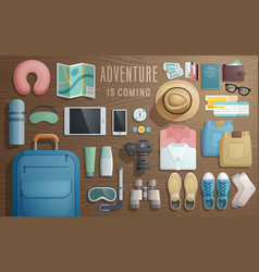 travel accessories prepared for trip on vector image
