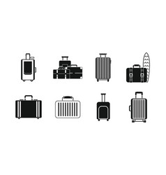 travel bag icon set simple style vector image