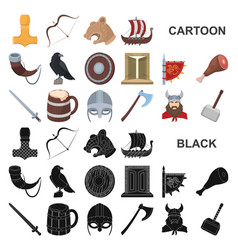 vikings and attributes cartoon icons in set vector image
