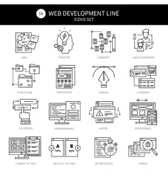 Web Development Black Line Icon Set vector image vector image