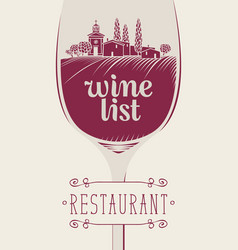 wine list with landscape of vineyards and village vector image