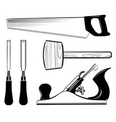 Woodworking and carpentry tools set mallet vector