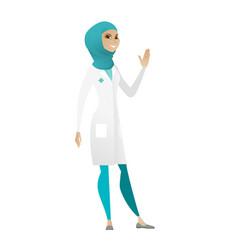 Young muslim doctor waving her hand vector