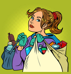 Young woman with grocery bags vector