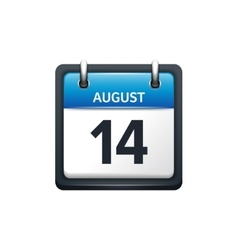 August 14 Calendar icon flat vector image vector image