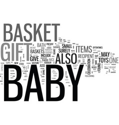 Baby gift basket text word cloud concept vector