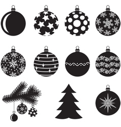 Christmas baubles set vector image vector image