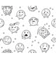 Earth emoji characters endless background in vector