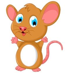 Happy fat mouse cartoon posing vector