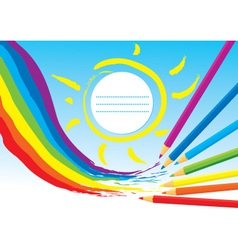 Rainbow sun and color Pencils vector image vector image