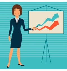 young business lady showing infographic vector image vector image