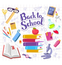 Colorful with many school supplies on backgr vector