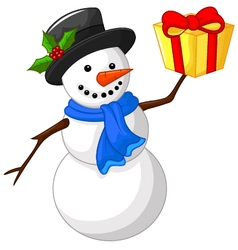 Cute cartoon snowman with gift vector