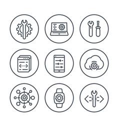 development engineering configuration line icons vector image