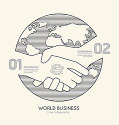Flat linear Infographic World Business Handshake vector image