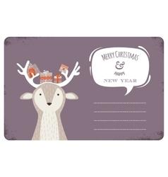 fun Christmas of deer bearing gifts vector image