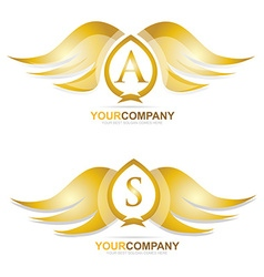Gold golden wings logo icon set vector image
