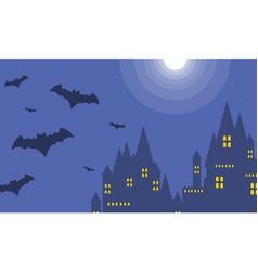 Halloween dark castle at night landscape vector