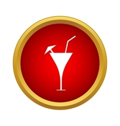 Martini glass with straw and umbrella icon vector image
