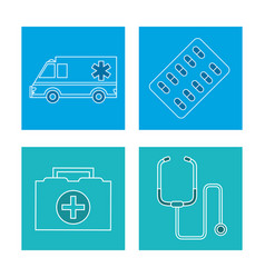 set equipment medical concept vector image