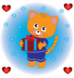 the cat keeps a gift in his paws vector image vector image