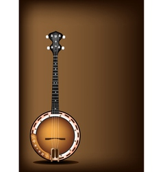 A Beautiful Banjo on Dark Brown Background vector image vector image