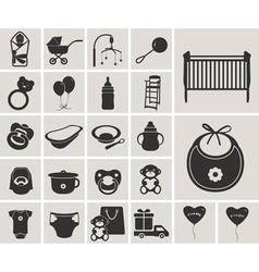 Baby black-white icons set vector