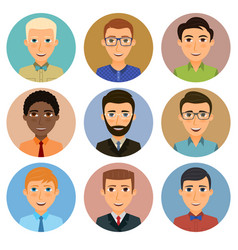collection of avatars of various young men vector image vector image