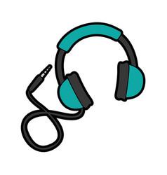 cute blue headphones cartoon vector image