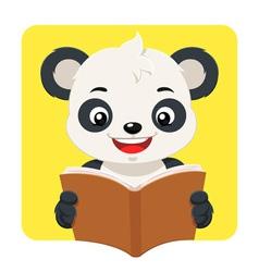 Little Panda Bear Reading A Brown Book vector image