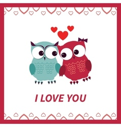 Lovers and happy owls with hearts vector image vector image
