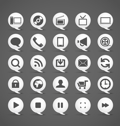 Modern media icons in clouds collection vector image vector image