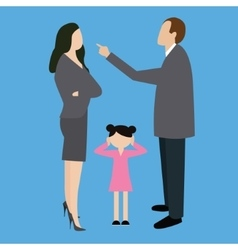 parent couple fight argue arguing in front child vector image vector image