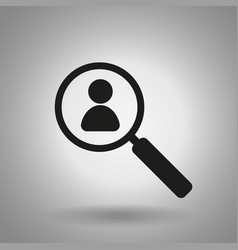 people search icon magnifier and man symbol vector image