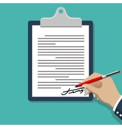 Hand signing document Man writing on paper vector image vector image