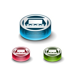 3d glossy Cinema Icon icon vector image
