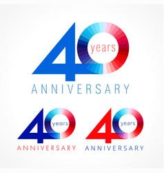 40 anniversary red blue logo vector