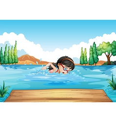 A young woman swimming in the river vector