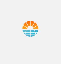 Abstract geometric logo icon sun and solar panels vector