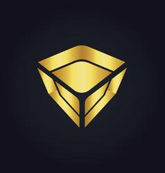 Abstract gold gem technology logo vector