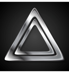 Abstract metallic triangle logo vector image