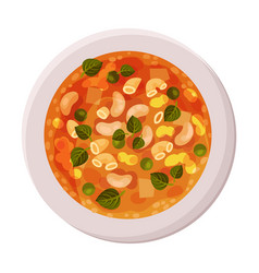 Appetizing vegetable minestrone served on plate vector