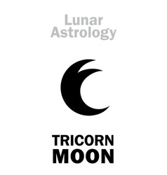 Astrology three-horned moon vector