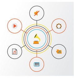 Audio flat icons set collection of portfolio vector